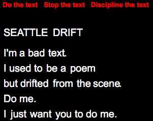 """Jim Andrews, """"Seattle Drift."""" Disciplined."""